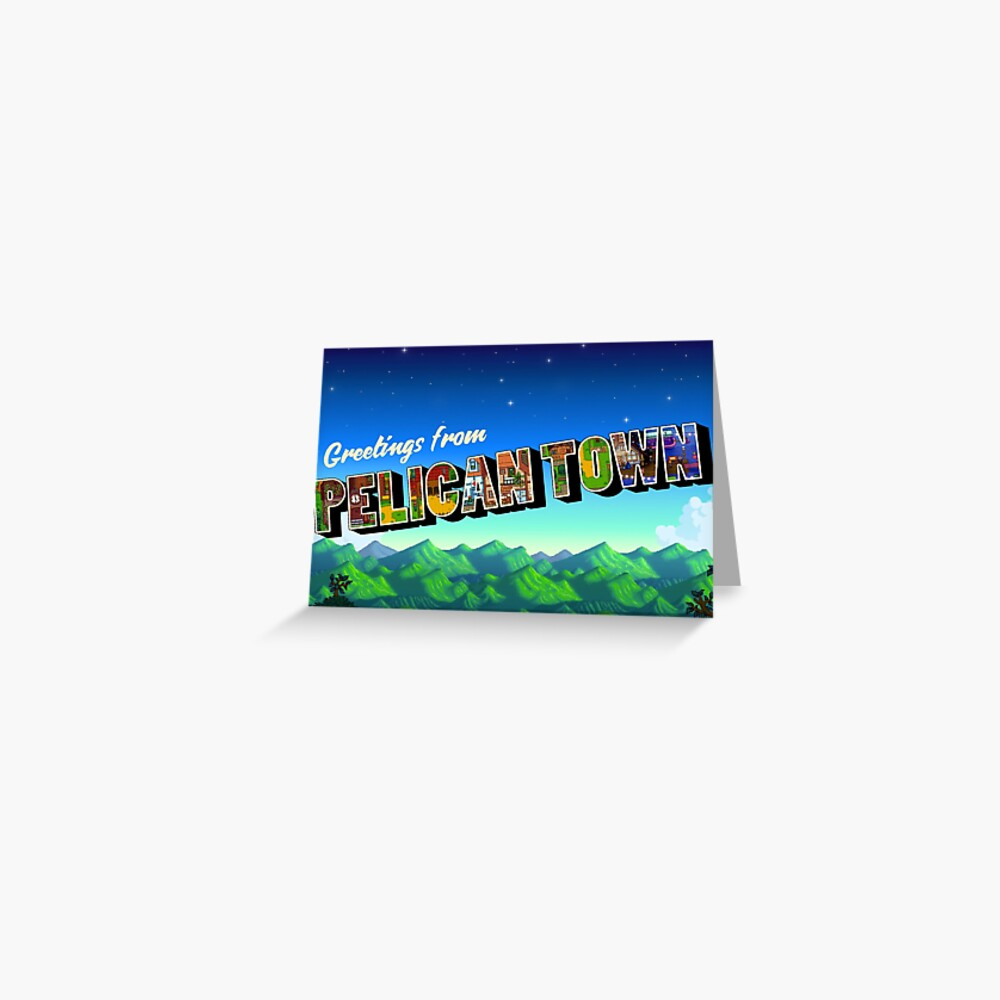 Greetings from Pelican Town | Stardew Valley Retro Postcard Greeting Card