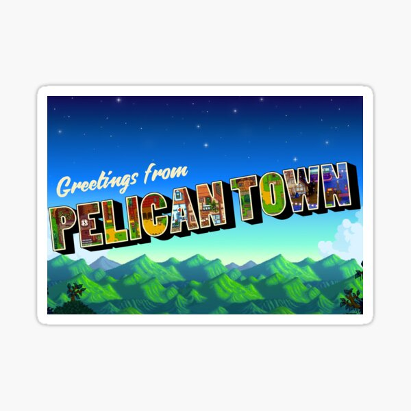 Greetings from Pelican Town | Stardew Valley Retro Postcard Sticker