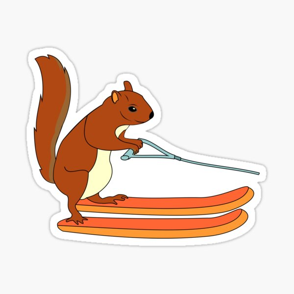 Waterskiing Ski Squirrel Freestyle Gift Animal Sticker