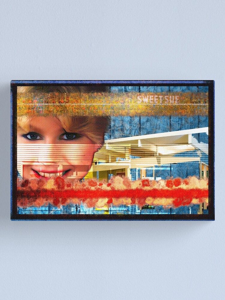 Alternate view of Sweet Sue In Red White And Blue Popart Collage Canvas Print