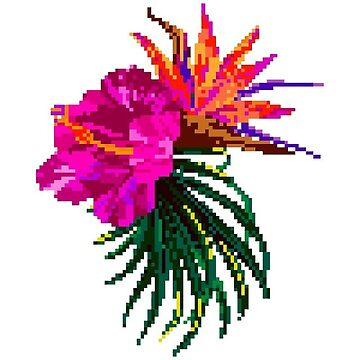 flor tropical pixel de stickersnstuff