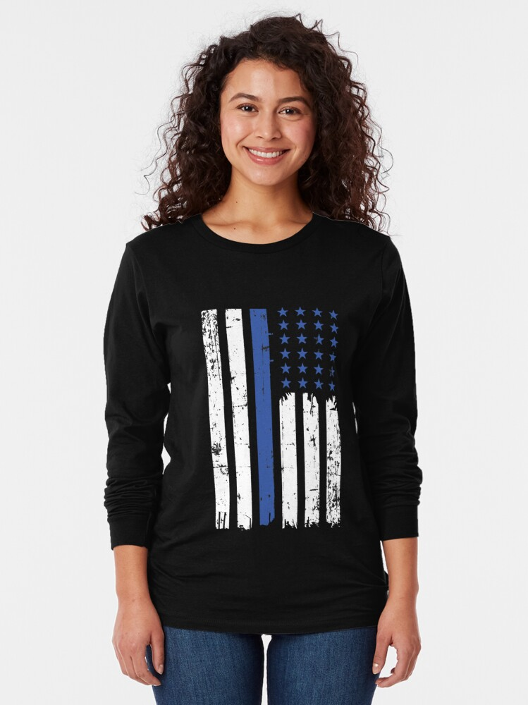 Alternate view of Thin blue line   Police USA flag deployment Long Sleeve T-Shirt