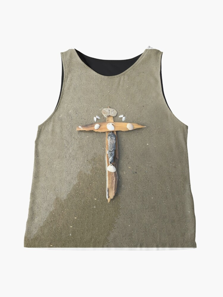 Alternate view of Driftwood cross on beach sand - From ccnow.info Sleeveless Top