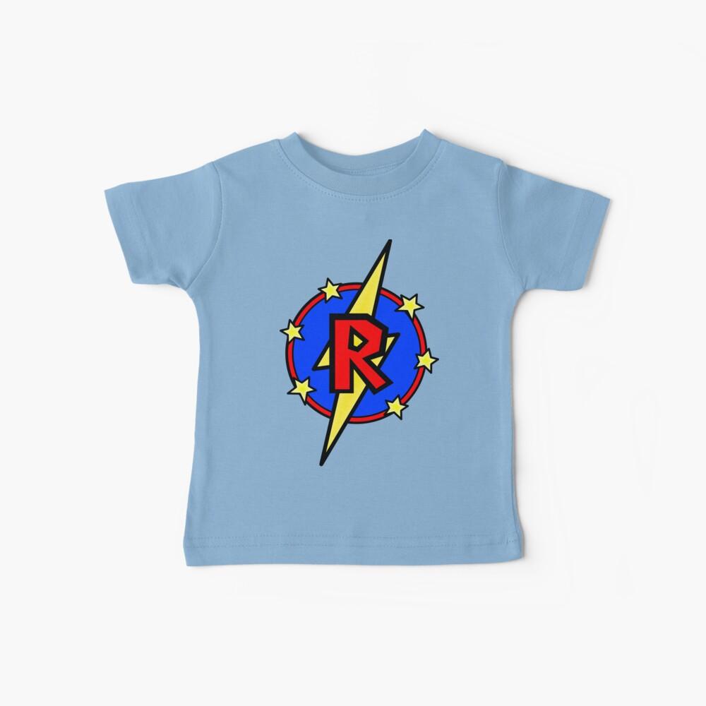 Cute Little SuperHero Geek - Súper Letra R Camiseta para bebés