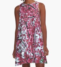 Magical Cherry Blossoms - Dark Pink Floral Abstract Art - Springtime A-Line Dress