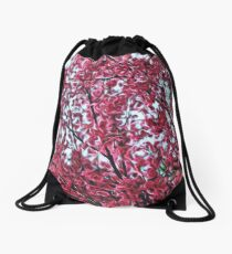 Magical Cherry Blossoms - Dark Pink Floral Abstract Art - Springtime Drawstring Bag