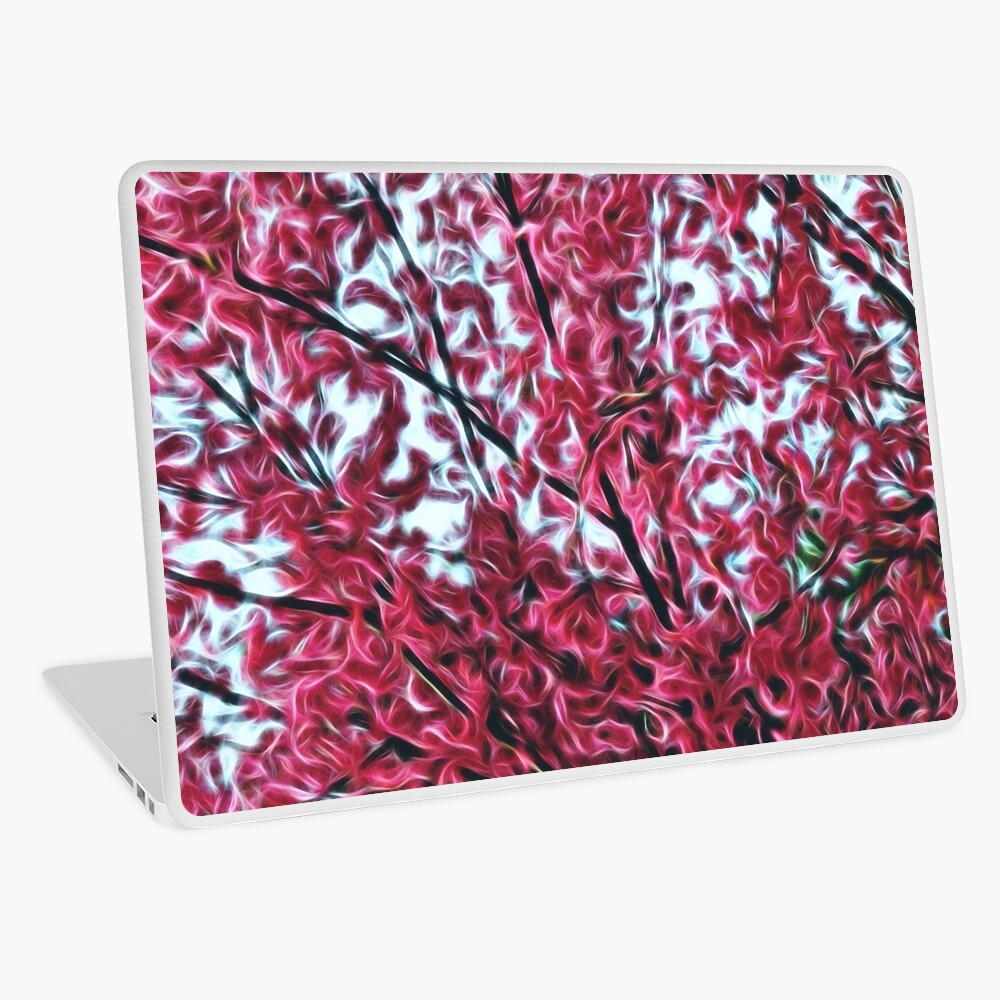Magical Cherry Blossoms - Dark Pink Floral Abstract Art - Springtime Laptop Skin