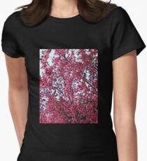 Magical Cherry Blossoms - Dark Pink Floral Abstract Art - Springtime Women's Fitted T-Shirt