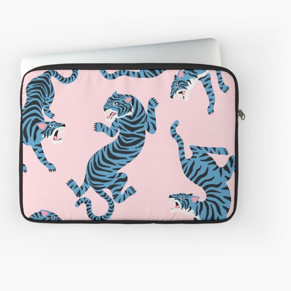 Pattern of aggressive blue tigers illustrations Laptop Sleeve