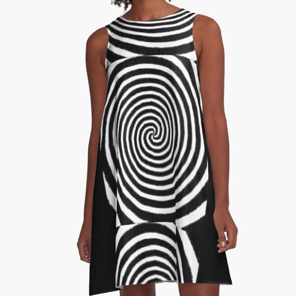 #Spiral #Target #Pattern #Hypnosis illusion vortex  striped circle  A-Line Dress