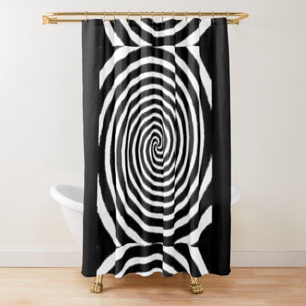 #Spiral #Target #Pattern #Hypnosis illusion vortex  striped circle  Shower Curtain