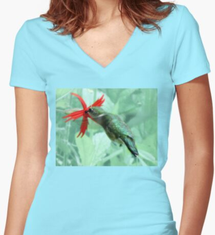 Ruby-throated Hummingbird Feeds On Fire Pink Women's Fitted V-Neck T-Shirt