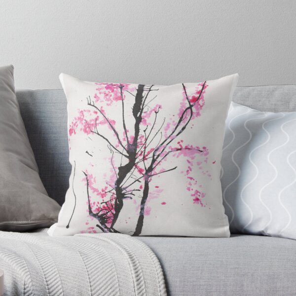 """""""Spring Half-Dreamed"""" Cherry Tree or Crepe Myrtle Tree Throw Pillow"""