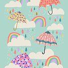 Spring Rain on Aqua by latheandquill
