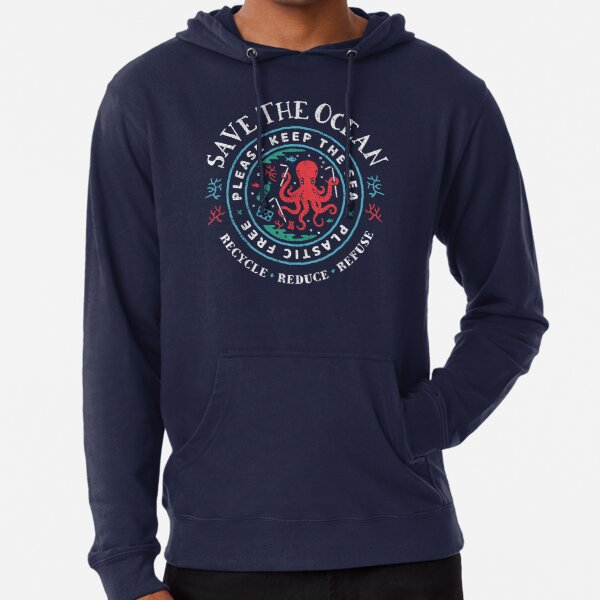 Save The Ocean - Please Keep the Sea Plastic Free - Octopus Scene Lightweight Hoodie