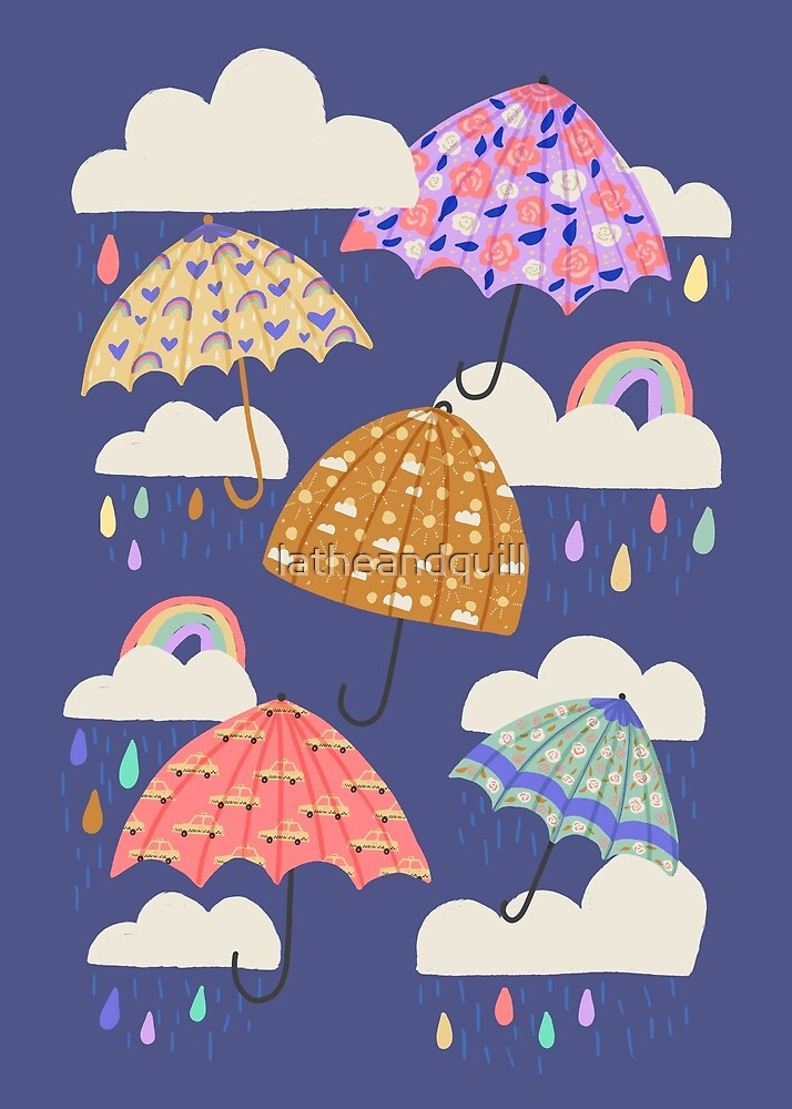 Spring Rain on Blue by latheandquill