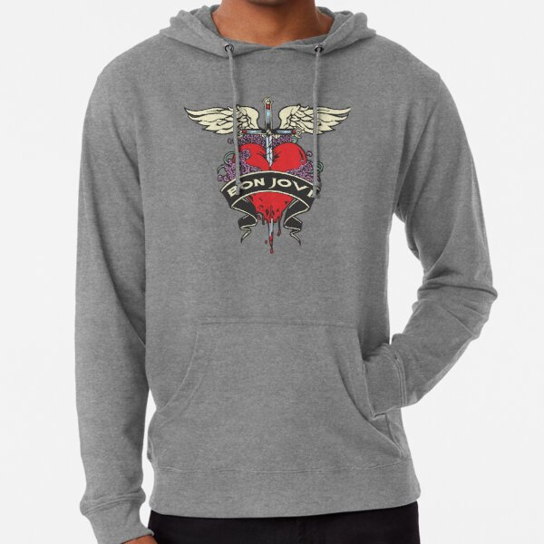 Mens Bon Jovi Band Heart Logo Long Sleeve Hooded Sweat Shirt Pullover