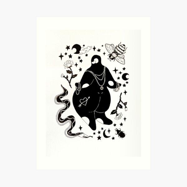 Venus Nana draped in pearls amongst roses, bugs and a snake. Art Print