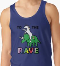 To The Rave! (Unicorn Riding Triceratops) Tank Top
