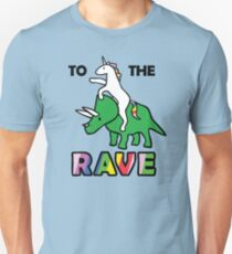 To The Rave! (Unicorn Riding Triceratops) Slim Fit T-Shirt