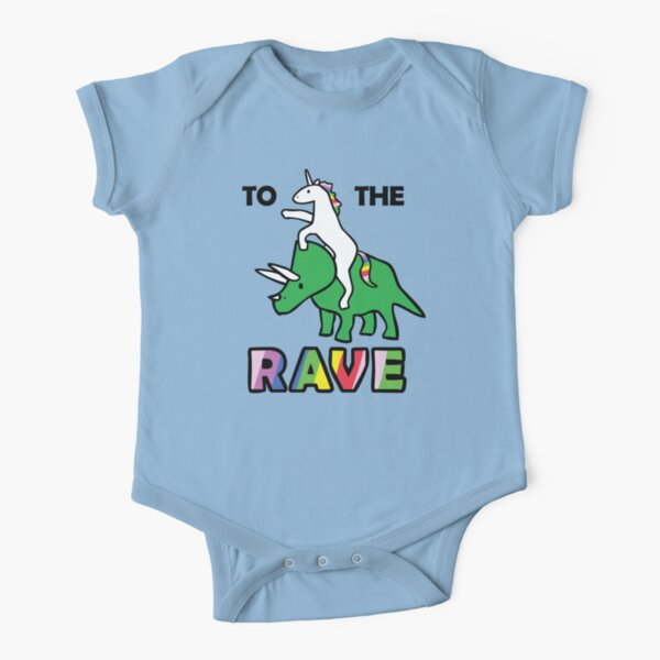 To The Rave! (Unicorn Riding Triceratops) Short Sleeve Baby One-Piece