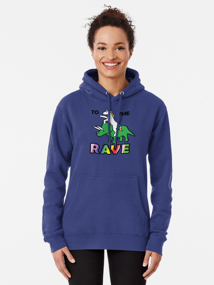 Alternate view of To The Rave! (Unicorn Riding Triceratops) Pullover Hoodie