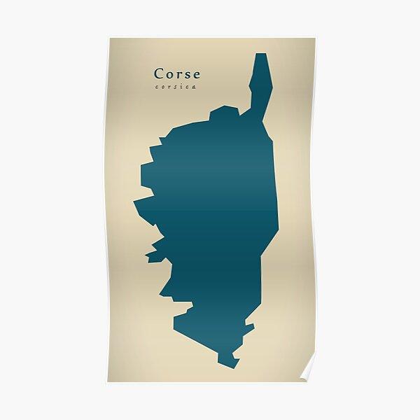 Carte moderne - Corse FR France Poster