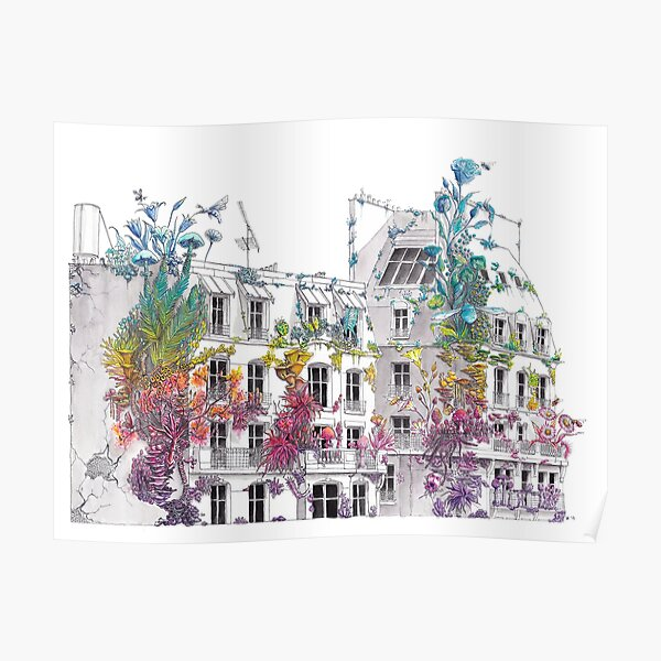 Parisian Roofs - Rainbow City - Watercolor Painting Poster
