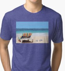 Tropical beach with chaise lounge at Maldives Tri-blend T-Shirt