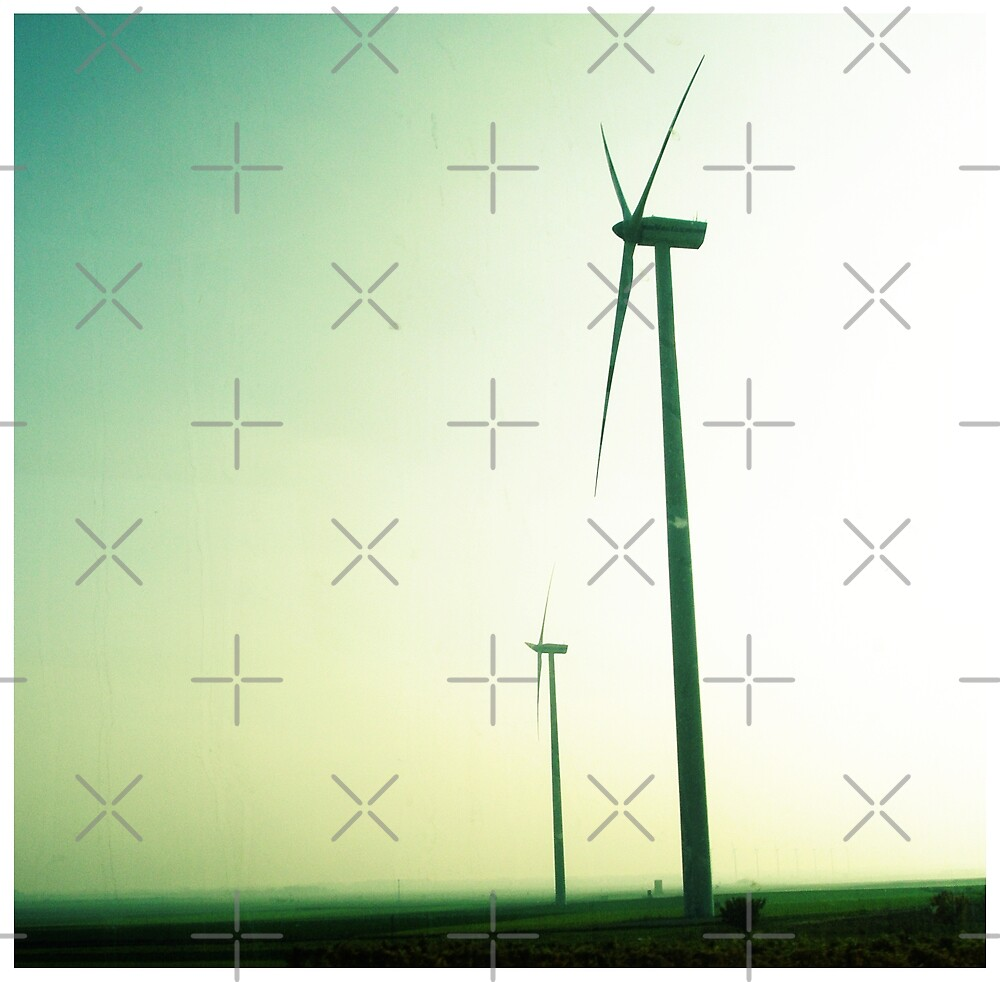 landscape with wind turbines by AgaSilva