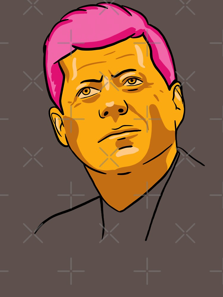 John F. Kennedy / JFK Portrait in Golden Aesthetic (With Pink Hair) by isstgeschichte