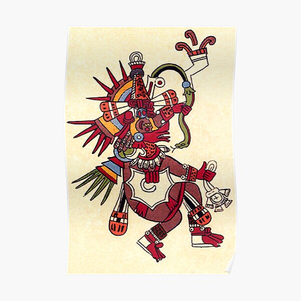 MAYA. MAYAN. Quetzalcoatl, feathered serpent, as depicted in the Codex Borbonicus. Poster