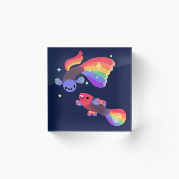 Rainbow guppy 5 Acrylic Block