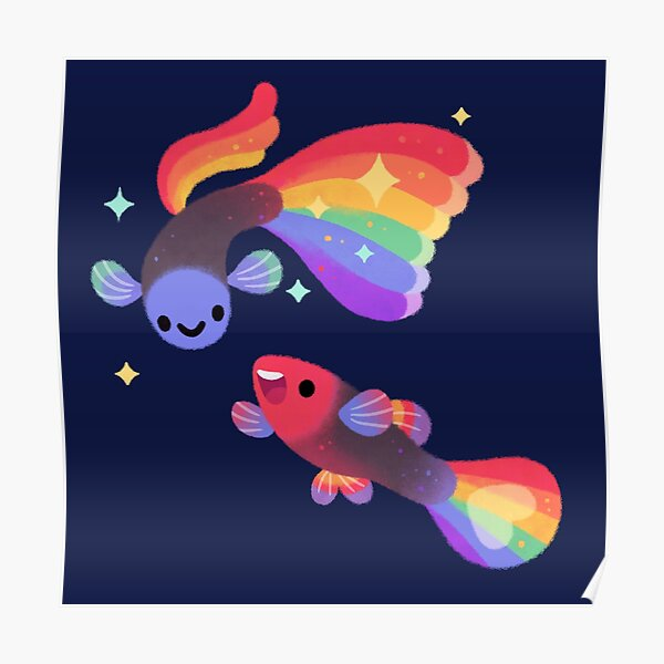 Rainbow guppy 5 Poster