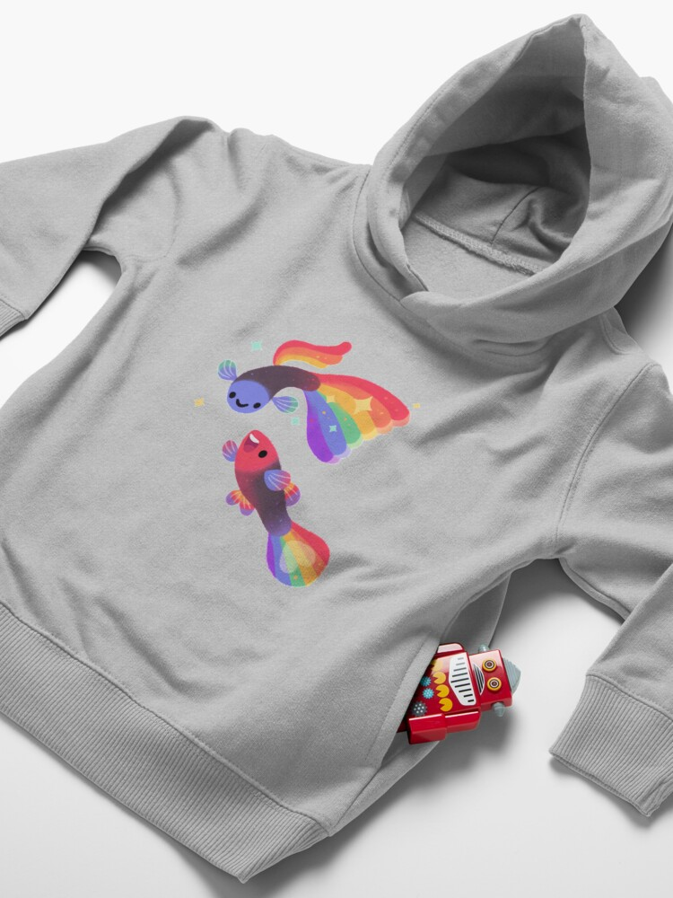 Alternate view of Rainbow guppy 5 Toddler Pullover Hoodie