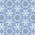 Periwinkle Blue Textured Boho Hex Pattern by micklyn