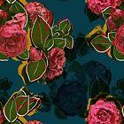 Camellias on Blue by BigFatArts