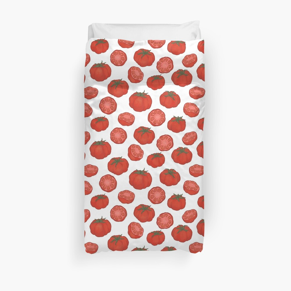 Red Tomatoes Cut And Whole Duvet Cover