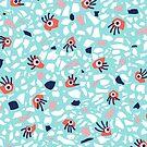 Fun Geometric Terrazzo Pattern With Eyes In Coral And Blue by Boriana Giormova