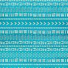 Cool Teal Blue Boho Stripes Pattern by blueskywhimsy