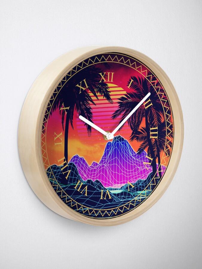 Alternate view of 80s Vaprwave rocks and palm trees design Clock