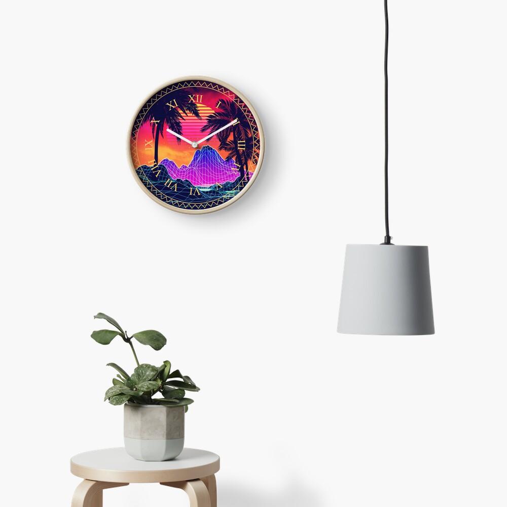 80s Vaprwave rocks and palm trees design Clock