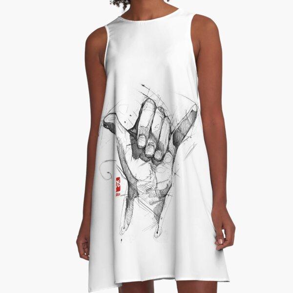 shaka hand sketch psdelux A-Line Dress