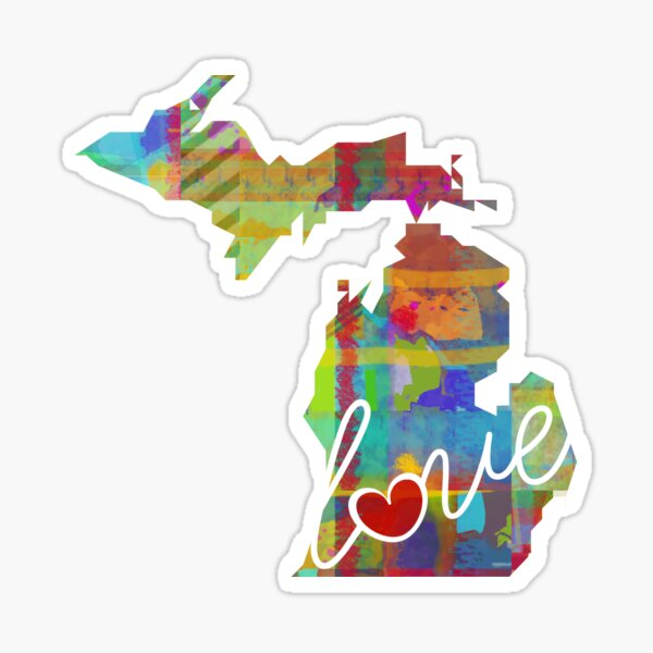 Michigan MI Love - A Colorful Watercolor State Map Silhouette Sticker