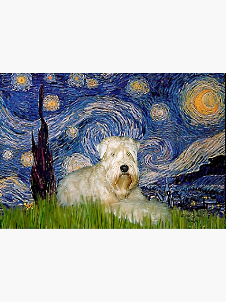 Soft Coated Wheaten Terrier in Starry Night by JeanBFitzgerald