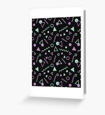 Memphis Pattern Green / Purple Greeting Card