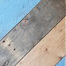 Four Panel Wooden Boards Painted Blue  von Gino S