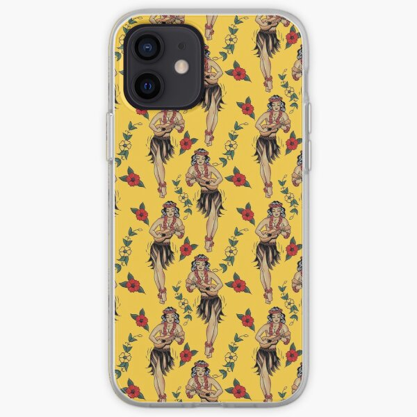 Jerry's Traditional Aloha Hula Girls In Hawaii Pattern In Yellow iPhone Soft Case