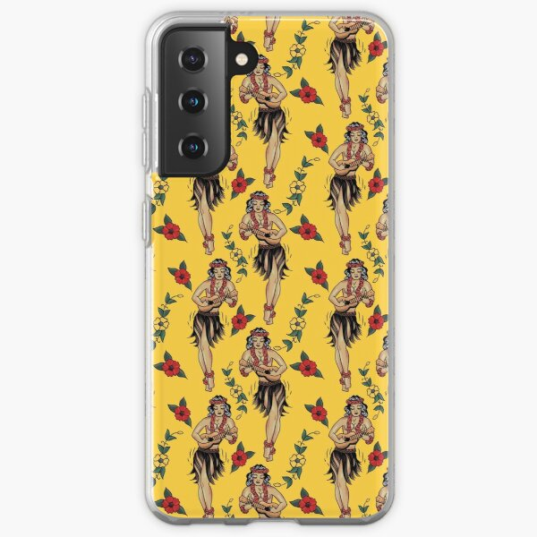 Jerry's Traditional Aloha Hula Girls In Hawaii Pattern In Yellow Samsung Galaxy Soft Case