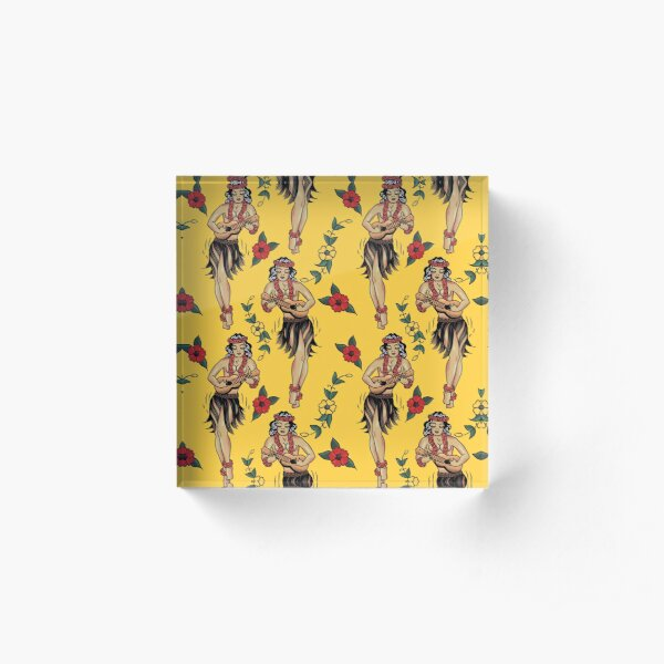 Jerry's Traditional Aloha Hula Girls In Hawaii Pattern In Yellow Acrylic Block